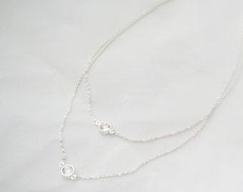 Sterling Silver, Two Strand Crystal Necklace, Swarovski Crystal, Giada Necklace, Layered Crystal, Double Strand Silver Bridesmaid Present