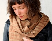 Earthy, Tonal Brown and Green Marl Scarf - Rustic Hand-Woven and Hand-Dyed - Unisex - FREE SHIPPING