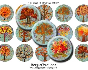 "AUTUMN TREES  -  15 x 1"" size images for glass and resin pendants, bottle caps, round bezel trays, etc.  Instant Download #41."