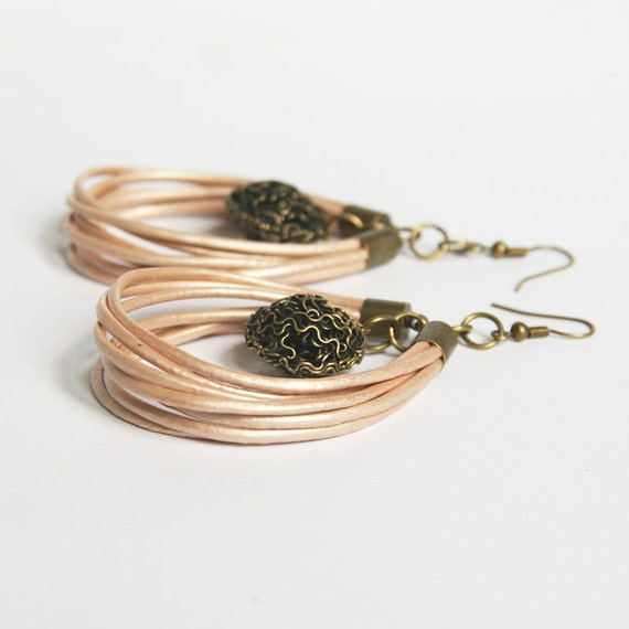 leather cord dangle earrings chandelier by kaktusia