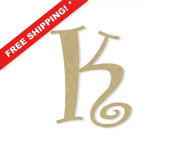 Decorative wooden letters k large or small unfinished by for Small wooden numbers craft
