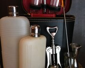 60's Travel Bar Set/ Picnic/ Gift/ House warming/ Cocktails/ Mixer/ Flask - RagaliciousVintage