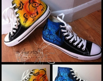 Custom Painted Hi Top Canvas Pokemon Shoes
