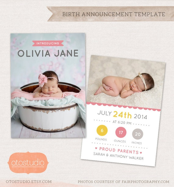 birth announcement template whimsical dots cb026 for. Black Bedroom Furniture Sets. Home Design Ideas