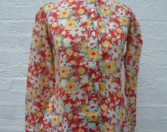 Blouse size 10 laura ashley blouse 70s vintage blouse floral 70s blouse clothing womens shirt summer blouse ladies 70s clothing ladies vtg.