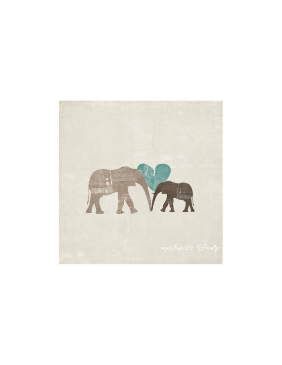 Mama Elephant & Baby Elephant Nursery Art Print