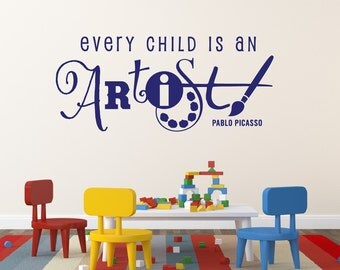 Every Child Is An Artist Decal Masterpieces Decal Playroom Decor Art Display Decal Playroom Decal