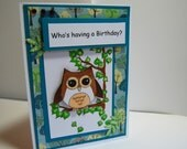 Who's having a Birthday? - Handmade Greeting Card - Card in Teal, Green and Brown, Child's Birthday Card
