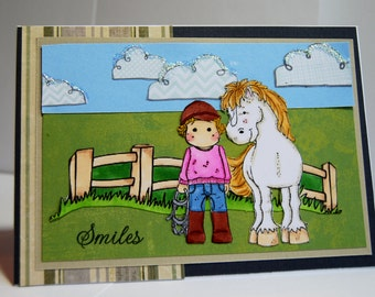 Smiles - Handmade Greeting Card - Tilda in Pink and Blue with her White Horse