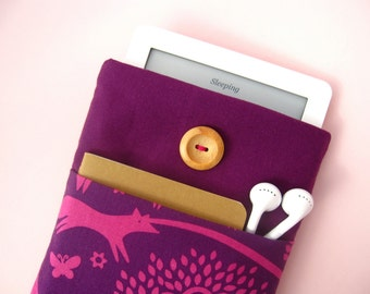 Kindle Cover, Kindle Paperwhite Case, Padded Sleeve with Pocket for Kindle Voyage, Kobo Glo - Pink and Plum Animal Trees