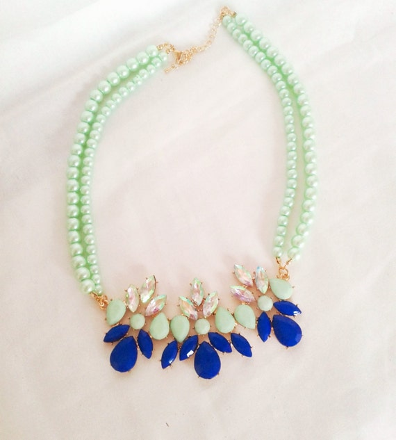 mint green and blue statement necklace by lilyandellieshop