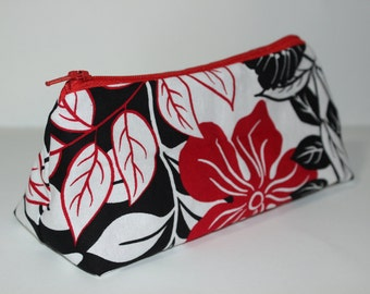 Zippered Flat Bottom Makeup Bag Pencil Case Large Red Black & White Flowers