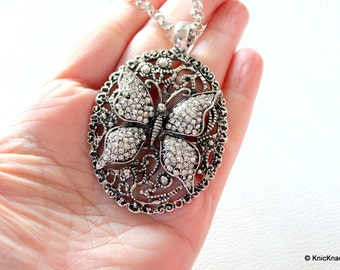 Butterfly Antique Silver Tone Rhinestones Pendant Necklace