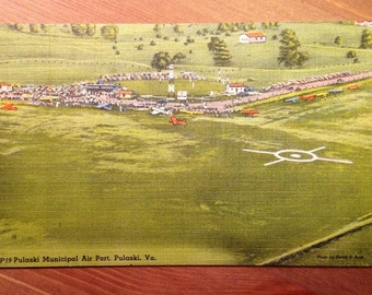 Vintage Postcard, Pulaski Municipal Air Port, Virginia - 1940s Linen Paper Ephemera