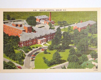 Vintage Postcard, Shelby Hospital, Shelby, North Carolina  - 1940s Linen Paper Ephemera