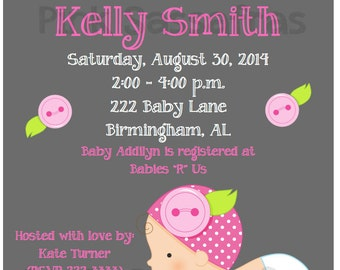 Baby Girl Chalkboard Shower Invitation