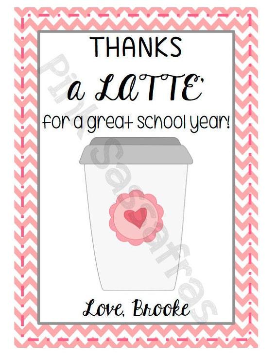 Thanks a Latteu0026#39; Teacher Gift Tags by PinkSassafras on Etsy