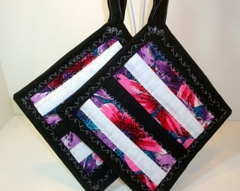 Quilted Pot Holder - 8 Inches  Square - Hot Oven or Grill - Hibiscus Flowers and Black and White Stripes
