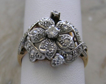 Antique Ring Rose Cut and Round Cut Diamonds Gold and Silver
