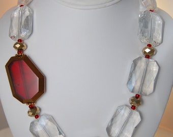 Beautiful Single Strand Necklace with Large Clear Crystals, Red and Copper Crystals
