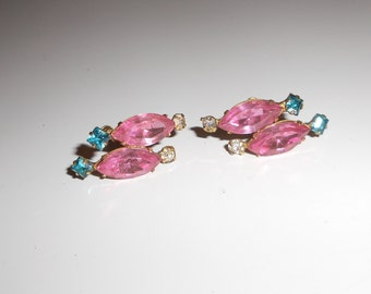 1940s jewelry Vintage Earrings Screw backs Flower Leaf Pink Turquoise Rhinestone Cluster Free USA Shipping