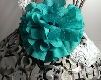 Aqua headband, flower and lace headband, aqua hair flower, aqua flower on a lace headband, aqua hair accessory, girls headband