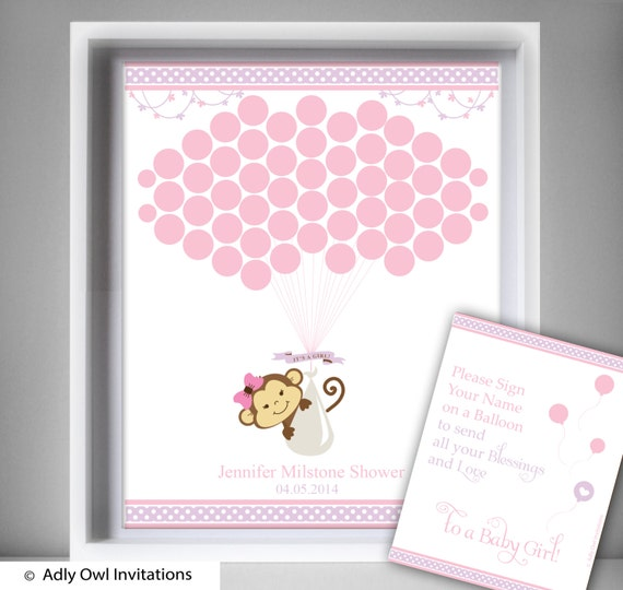 Items similar to Girl Monkey Guest Book Printable ...