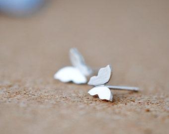 925 Sterling Butterfly Matte Finish Silver Stud Earrings 602