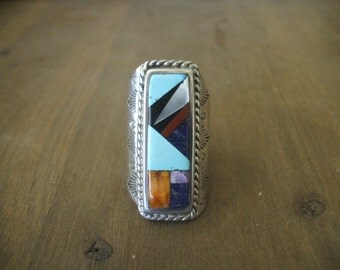 Signed Vintage DAVID FREELAND Heavy Sterling Silver Channel Inlay RING, sz 9.75