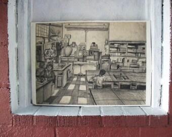 Original Pencil Drawing1970,  Shadow In A Room by Craig Davis