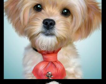 Single Pet Custom Portrait on Canvas