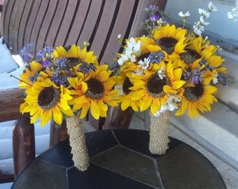 12 pc. Sunflower and Purple Wild Flowers / Rustic Wedding / Country Wedding / Silk Bridal Bouquet Grooms Bout or Bridesmaids and Groomsmen