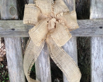 Country Burlap Bow rustic country Chair Pew wedding light brown decor for any season gift bows