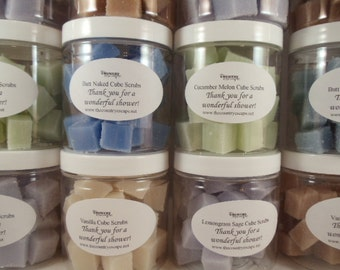 12 Sugar Cube Scrubs in 4oz Jars - Free Custom Label Available - Wedding Favors - Baby and Bridal Shower Gifts - Hostess Gifts