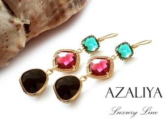 Princess Chandeliers in Gold. Ruby Quartz, Emerald Quartz & Onyx Black Crystals on Gold Pl. Earwires. Azaliya Luxury Line. Bridesmaids Gift