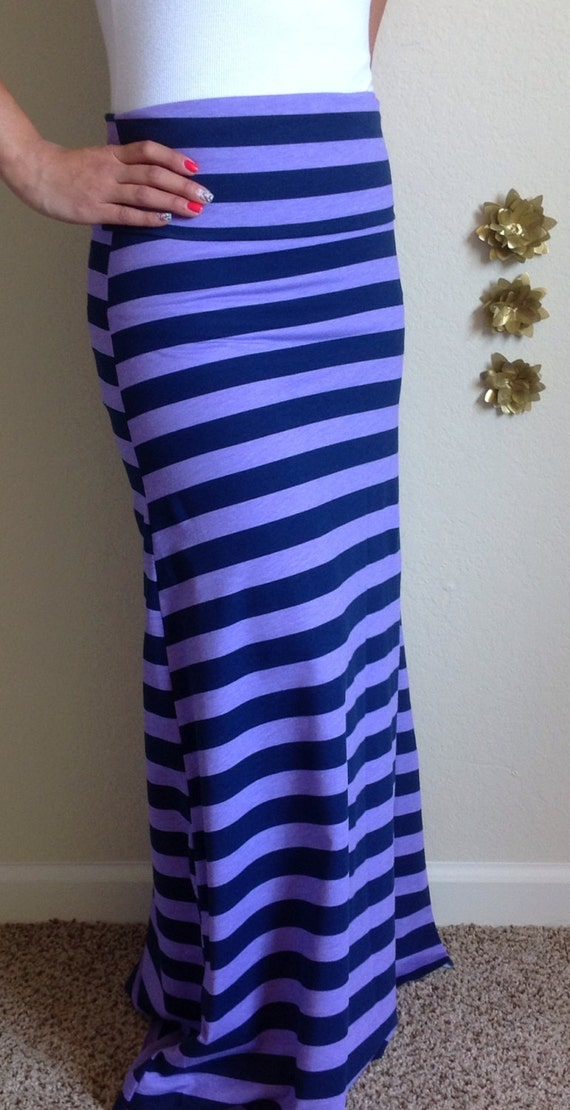 items similar to navy blue and purple stripe maxi skirt