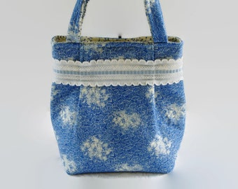 Small Blue and Cream Floral Repurposed Fabric Purse Handbag with Vintage Lace, Upcycled Recycled Womens Bag, Girls Purse, Spring Bag