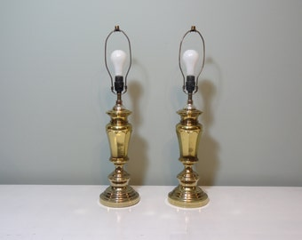 Pair of Large Vintage Brass Table Lamps - Hollywood Regency Lighting - Mid Century Modern Table Lamps