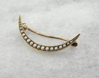 Rose Gold and Pearl Brooch, Crescent Moon Late Victorian to Early Art Nouveau XL95PK-D