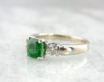 Contemporary Tsavorite Garnet Engagement Ring with Diamonds - U6Z1W3-N