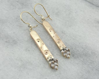 Fine Diamond and Rose Gold Drop Earrings From Victorian Era 186N13-N