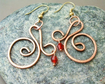 Wire Wrapped Spiral Earrings old-looking Copper with Pendant - Handmade Copper Earrings - wire wrapped Earrings handmade