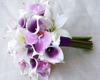 Silk Flower Wedding Bouquet - Purple Heart Calla Lilies, Orchids and Lilies Natural Touch Silk Bridal Bouquet