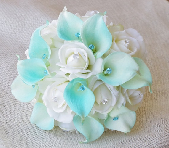 silk flower wedding bouquet aqua mint blue calla lilies and. Black Bedroom Furniture Sets. Home Design Ideas