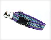"Cat Collar - ""Wild Heart"" - Purple & Turquoise Tribal Geometric Pattern"
