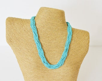 Braided necklace, Turquoise necklace, seed bead necklace, beaded necklace, bridesmaid gift, teal necklace, seed bead jewelry, aqua necklace