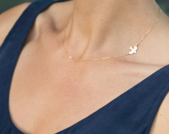 SOAR Bird Necklace / Layering Necklace Gold, Silver, Rose Gold / Delicate Gold Necklace / Dove Necklace / Bird Necklace Layered + Long LN115