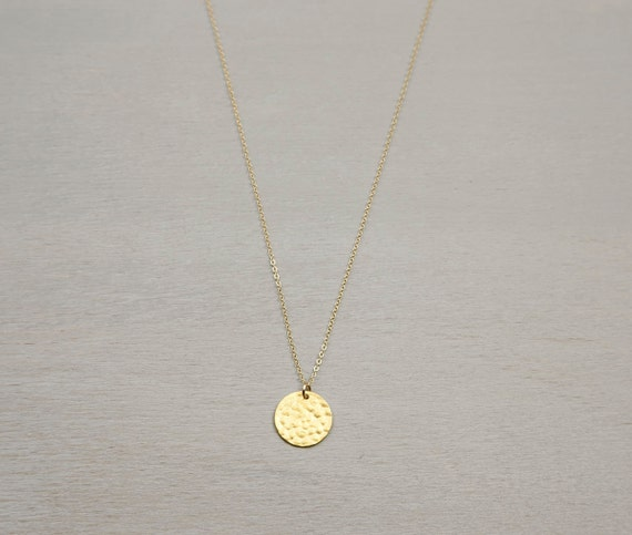 hammered gold disc necklace personalized initial by