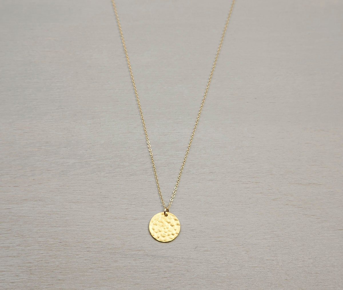 hammered gold disc necklace personalized initial by. Black Bedroom Furniture Sets. Home Design Ideas