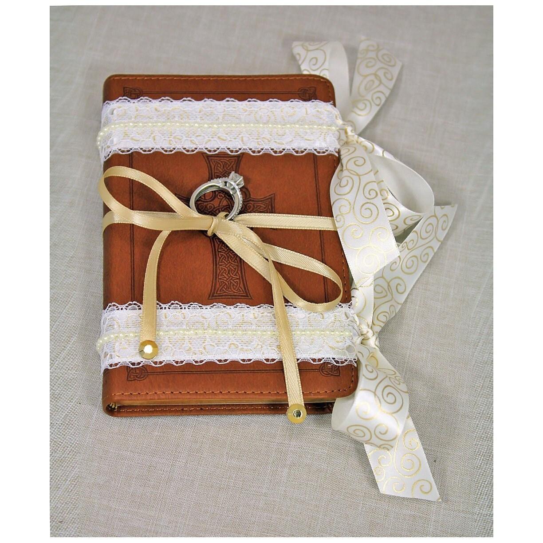 Ring Bearer Pillow Alternative. Ring Bearer Bible Brown Ivory